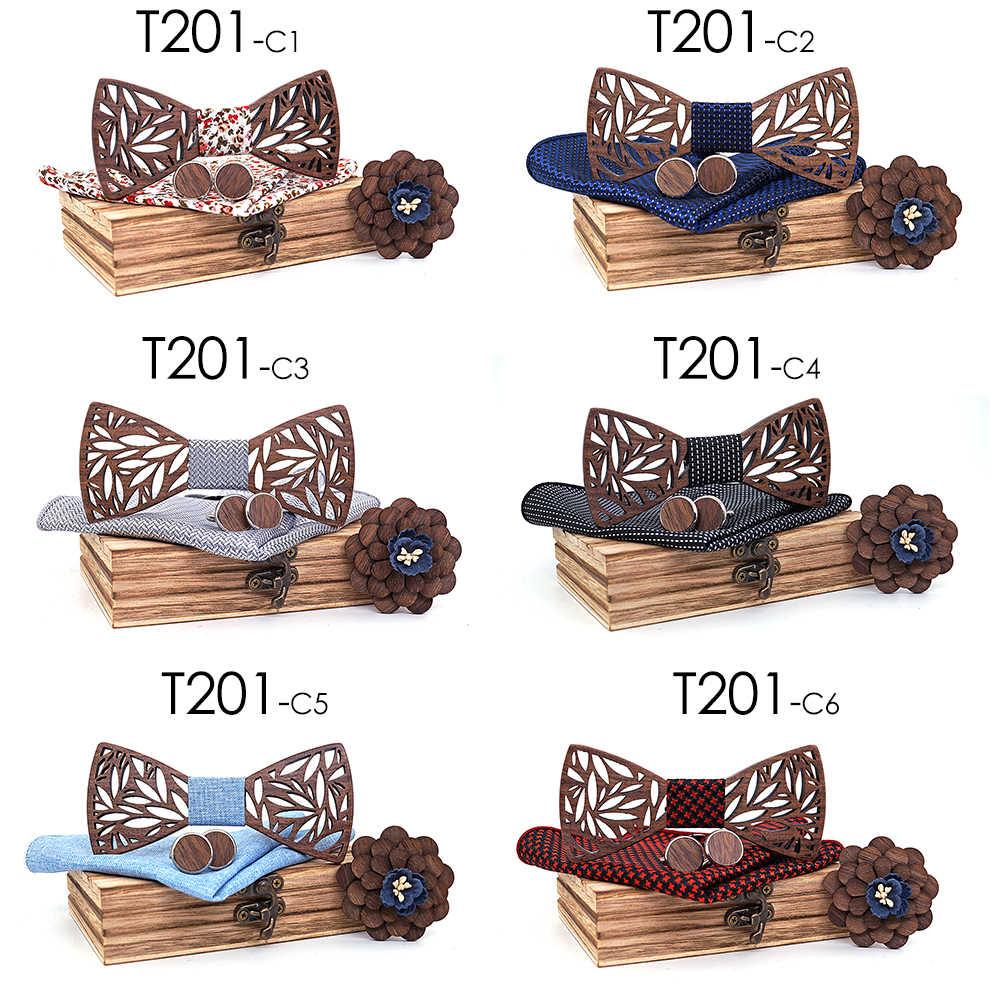 بيزلي رابطة خشبية منديل مجموعة الرجال منقوشة ربطة الخشب جوفاء منحوتة قطع تصميم الأزهار و صندوق الموضة الجدة العلاقات
