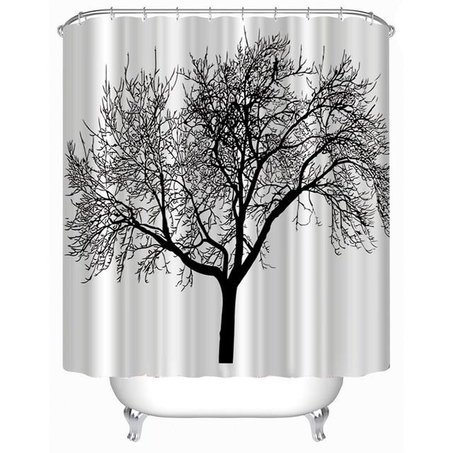 New Stylish Splash Waterproof Fabric Shower Curtains Black Tree Design  Polyester Bath Curtains With Hooks Bathroom