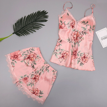 New Arrival Women Silk Pajama Sets Fashion Floral Pyjamas Set Robe 3 pcs Lingerie Sets European Style Sexy Sleepwear Nightwear in Pajama Sets from Underwear Sleepwears