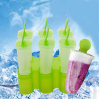 6 Cell Frozen Ice Cube Molds Lolly Mould Tray Pan Kitchen Randomly Color Popsicle Maker