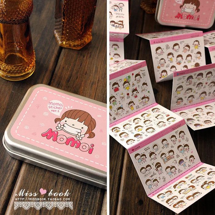 20 Sheets/box Momoi Cute Girl Cartoon PVC Stickers with Tin Box  DIY Photo Album Scrapbook Calendar Diary Planner Stickers infinite destiny in america photobook 50p memo note 100p 3 photo stickers release date 2013 10 18 korea kpop album