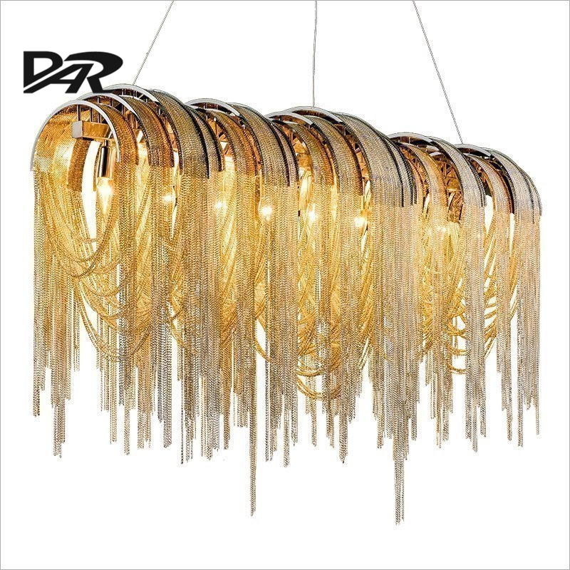 Post Modern Design Led Pendant Lights Aluminum Chain Tassel Pendant Lamp Fixtures For Villa/Hotel Project Lighting lamparas aluminum chain tassel pendant lights e14 led silver pendant lamp lamparas colgantes lustre project light pendientes hanglamp new