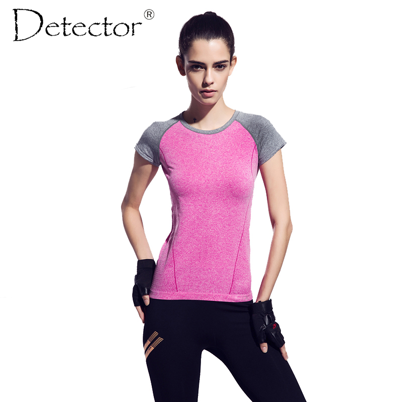 Detector Dry Quick gym t shirt compression tights women's sport t shirts running short sleeve t-shirts fitness women t-shirts