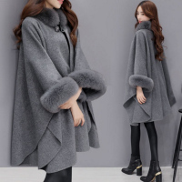 Ponchos and Capes Women 2018 Fashion Ladies Flare Sleeve Faux Fox Fur Collar Winter Wool Cloak Cape Coat Poncho Long Overcoat
