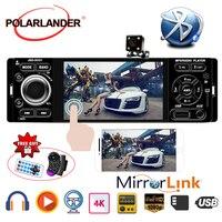 POLARLANDER Car Radio 1din autoradio 4 inch Touch Screen Audio Mirror Link Stereo Bluetooth Rear View Camera USB AUX IN Player
