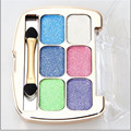 6 Colors Shimmer Eyeshadow Eye Shadow Palette & Makeup Cosmetic Brush Set Fashion Beauty professional Eyeshadow