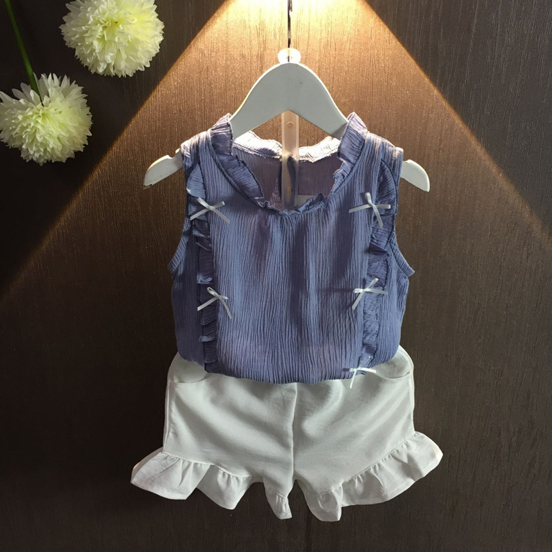 2PCS girls summer dresses kids blue cotton shirt and white all match short set princess baby casual clothes children 2-7 Years