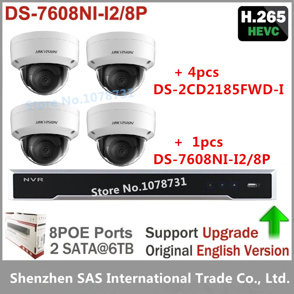 4pcs Hikvision 8MP H.265 Network Dome Camera DS-2CD2185FWD-I Video Surveilance + Hikvision NVR DS-7608NI-I2/8P 8CH 8ports POE hikvision new released 8mp h 265 network dome camera ds 2cd2185fwd i 3d dnr bullet camera 3840 2160 resolution ik 10 ip 67