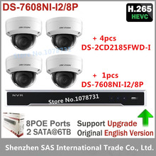 4pcs Hikvision 8MP H.265 Network Dome Camera DS-2CD2185FWD-I Video Surveilance + Hikvision NVR DS-7608NI-I2/8P 8CH 8ports POE