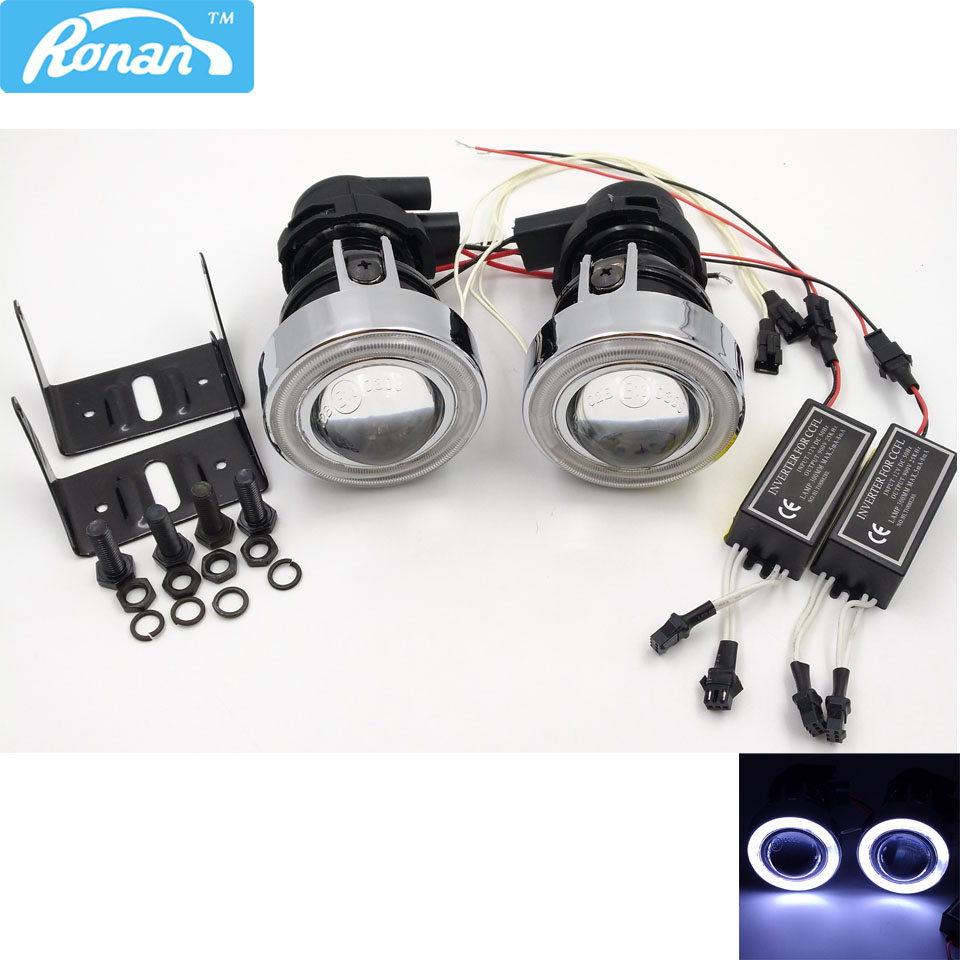 RONAN Universal 2.0inch Fog Lights Projector Lens With angel eyes use 55W Halogen bulb H3 Car Styling Free Shipping
