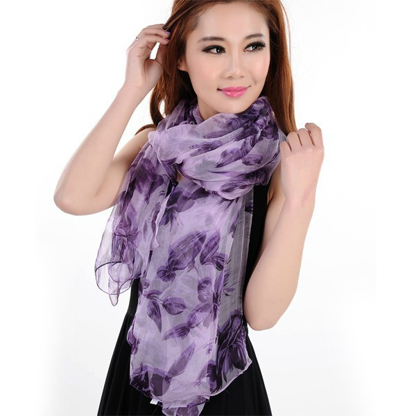 [BYSIFA] Ultra Wide Women Silk Scarf Shawls 100% Mulberry Silk Scarves Printed Spring Autumn Female Muslin Purple Long Scarf