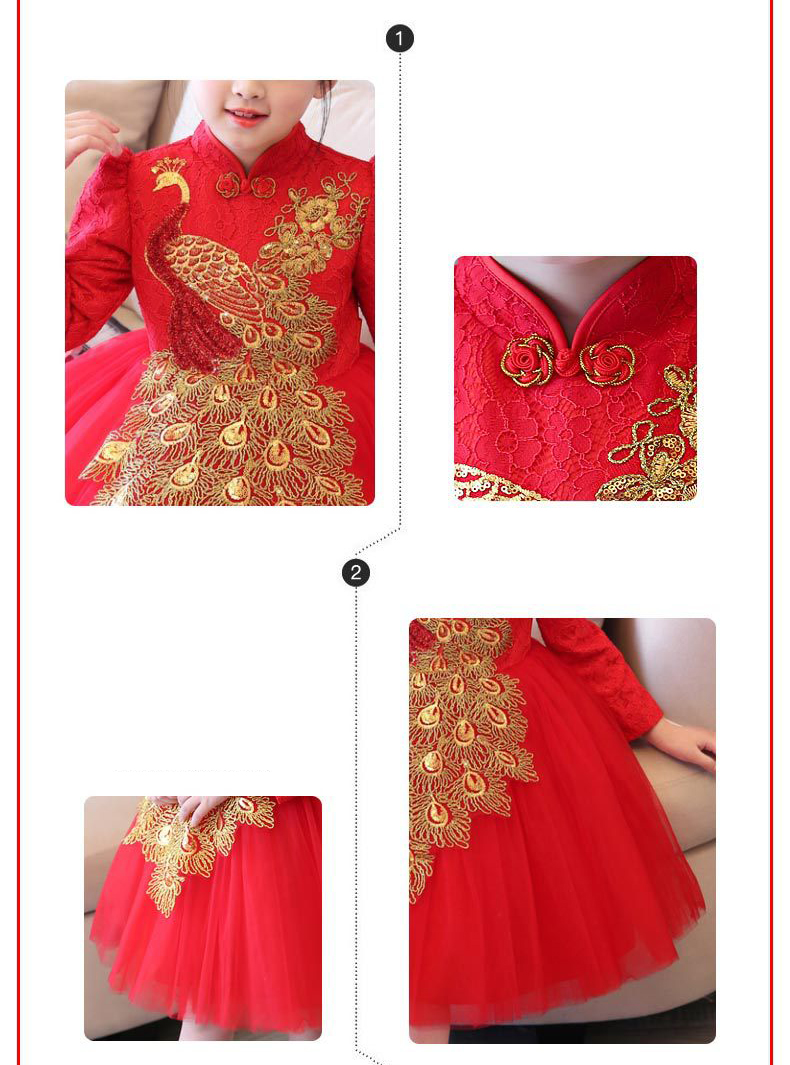 034f3a216 Kids Chinese Dress Mandarin Collar Traditional Tang Costume Layered Mesh  Tulle Dresses Red Lace Puff Sleeve Princess Prom Gown