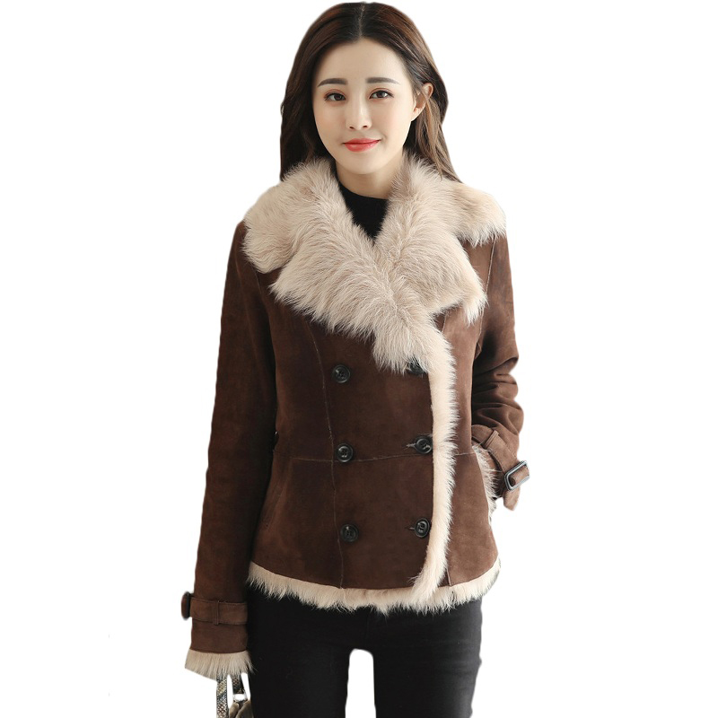 Winter Women Faux Fur Lining Sheepskin Coat Female Short Shearling Coats Patchwork Faux   Suede     Leather   Jackets