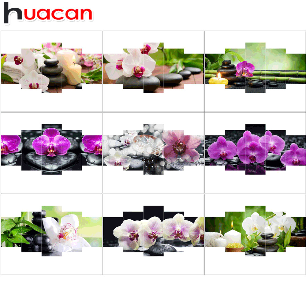 Huacan Diamond Embroidery Flower Full Square Diamond Painting Cross Stitch Orchid Picture Rhinestone Mosaic Decoration