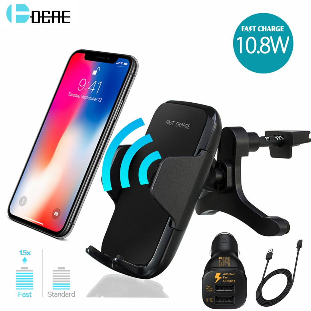 DCAE Car Mount Qi Wireless Charger For IPhone XS Max XR X 8 Samsung Note 9 S9 S8 Xiaomi Fast Wireless Charging Car Phone Holder secadora plancha rizadora