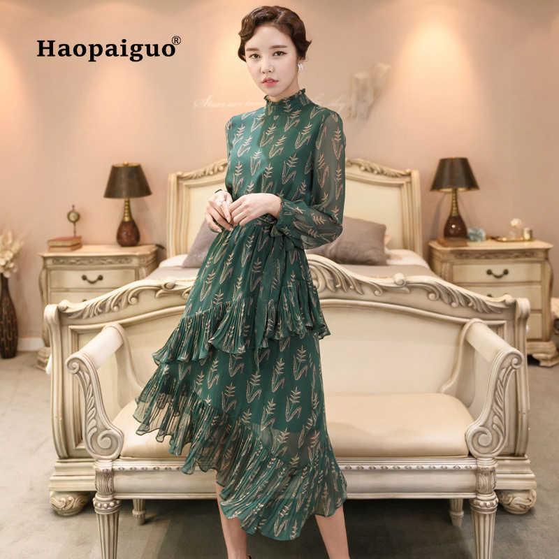 5be2ec8eae9 Зеленое Шифоновое Платье с принтом для женщин с длинным рукавом и  Каскадными рюшами миди женские платья