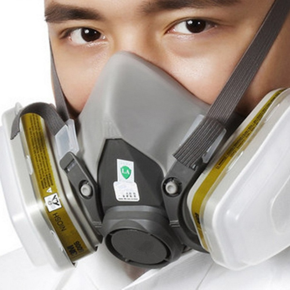 Sjl Full Face 6800 7 Piece Gas Mask Pesticides Facepiece Respirator Painting Spraying 6001 Filter Cartridge Chemical Medicine Factories And Mines Party Masks