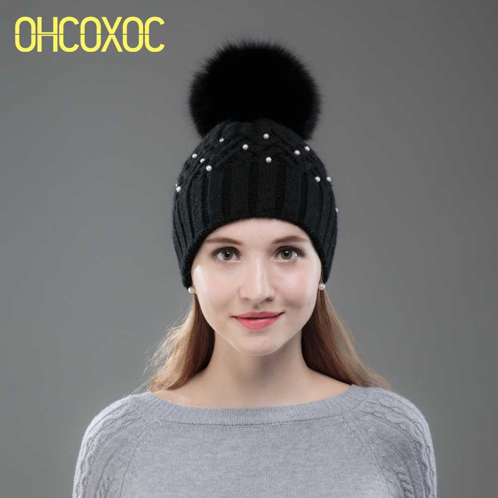 ebbf65c2197 OHCOXOC New Women Beanies Real Fox Fur Pom Poms Ball Cap Keep Warm Beanies  Skullies Shiny