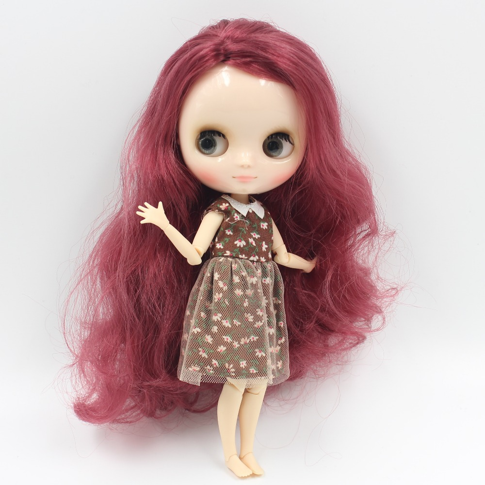 Middie blyth doll bjd neo 1/8 20cm joint body with handsets gift toy 12532 wavy hair maroon side parting цена