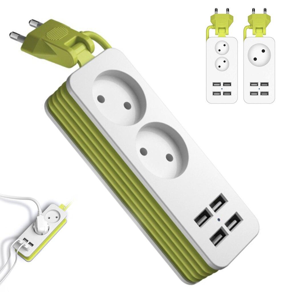 EU Plug Power Strip 2 AC Plug Travel Adapter 1200W Multiple Portable 4 USB Port Charger Socket 1.5m for Smartphones Tablets