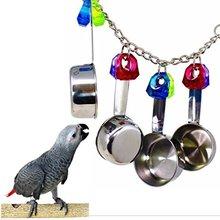 Игрушки для птиц качели для попугая клетка ложка колокольчик Висячие ползунки животные попугай игрушки для попугая попугай африканская серая птица укусы звук жевания игрушки