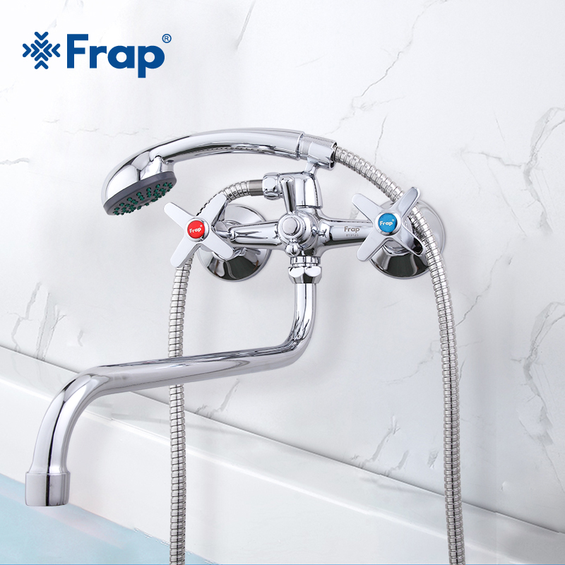 Frap Bathroom Shower Faucets Hot And Cold Water Brass Wall Mounted  Mixer Shower Set Tap Chrome Shower Crane Torneiras F2220