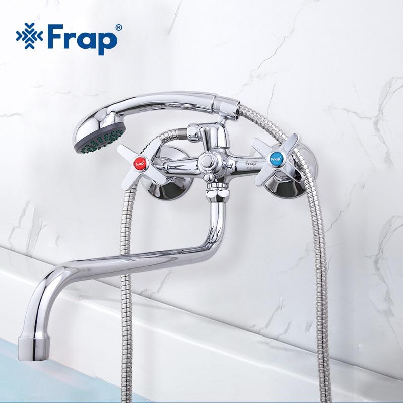 Frap torneiras de chuveiro do banheiro água quente e fria bronze fixado na parede misturador do chuveiro conjunto torneira do chuveiro cromo guindaste torneiras f2220