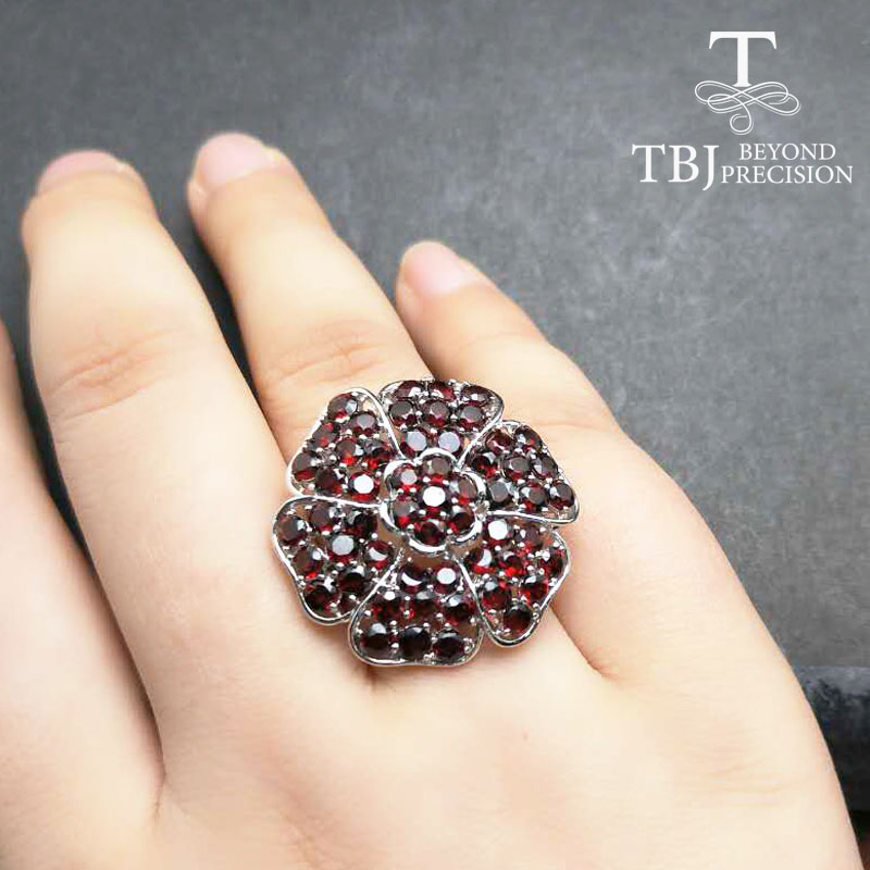 Tbj,Big luxury Gemstone Ring with natural red garnet handsetting gemstones Ring in 925 sterling silver for party with gift box