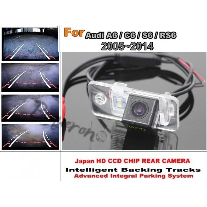 Smart Tracks Chip Camera / For Audi A6 C6 S6 RS6 2005 ~ 2014 HD CCD Intelligent Dynamic Parking Car Rear View Camera for renault duster 2010 2014 smart tracks chip camera hd ccd intelligent dynamic parking car rear view camera