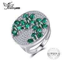 2 52ct Nano Russian Emerald Wedding Ring Set Solid 925 Sterling Solid Silver Pear Round Cut
