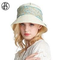 FS דלי כובעי קיץ לנשים הדפסת פרחי אופנה חגורת סרט רחב גדול ברים תקליטונים שמש להגן על כובע חוף כובע אגן UV