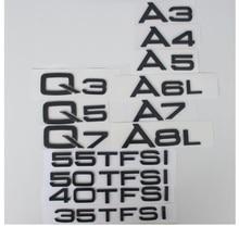 Brillante brillo negro trasero tronco cartas insignia emblema emblemas para Audi A3 A4 A5 A6 A7 A8 A4L A6L A8L Q3 Q5 Q7 35 40 45 50 55 TFSI