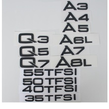 Glossy Gloss Black Rear Trunk Letters Number Badge Emblem Emblems for Audi A3 A4 A5 A6 A7 A8 A4L A6L A8L Q3 Q5 Q7 накладки на педали audi q5 a4l a5 a6l a3 a7