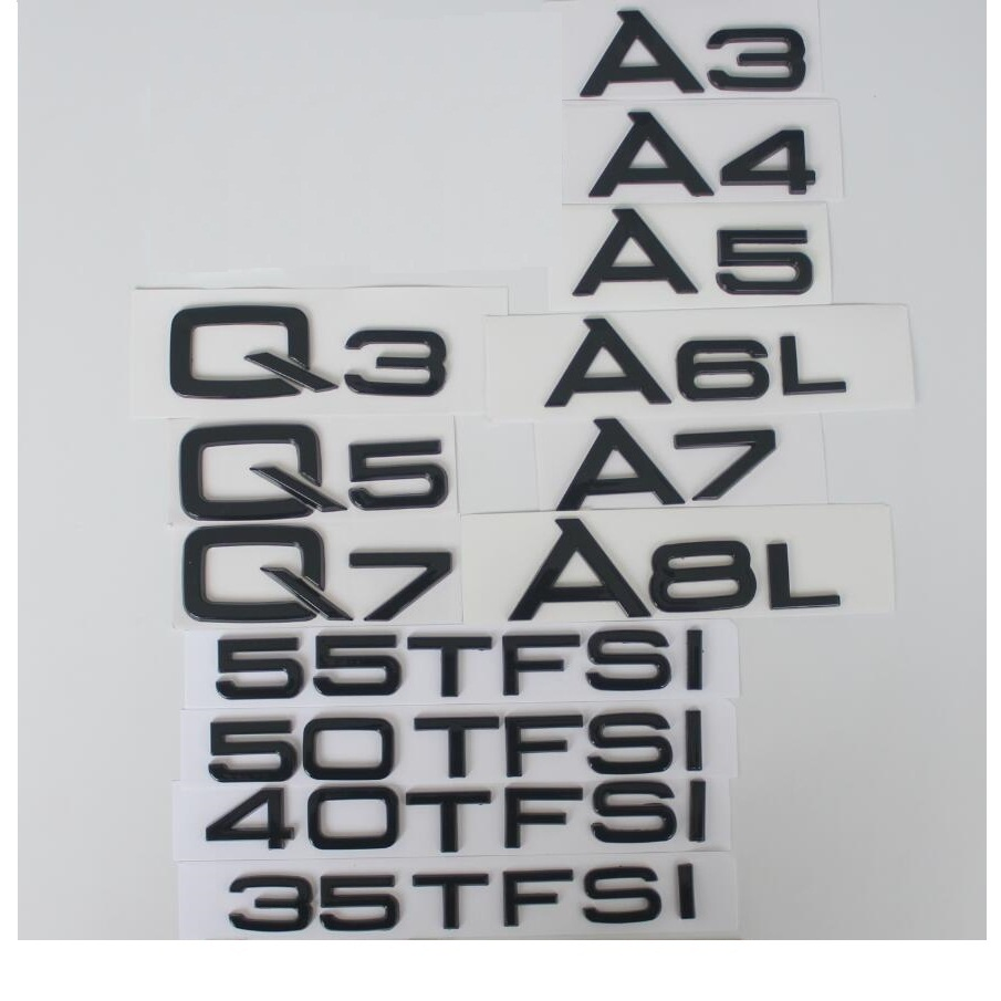 Letras brilhante Gloss Black Traseiro Trunk Emblema Emblema Emblemas para Audi A3 A4 A5 A6 A7 A8 A4L A6L A8L q3 Q5 Q7 35 40 45 50 55 TFSI