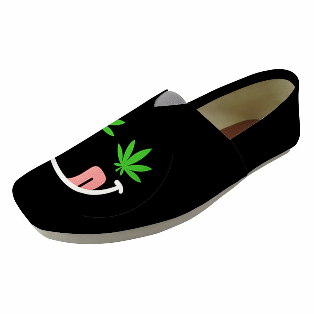 INSTANTARTS Black Women Fashion Loafers Canvas Shoes Woman Spring Flat Shoes Zapatos Mujer Weeds Leaf Print Slip-up Lazy Flats