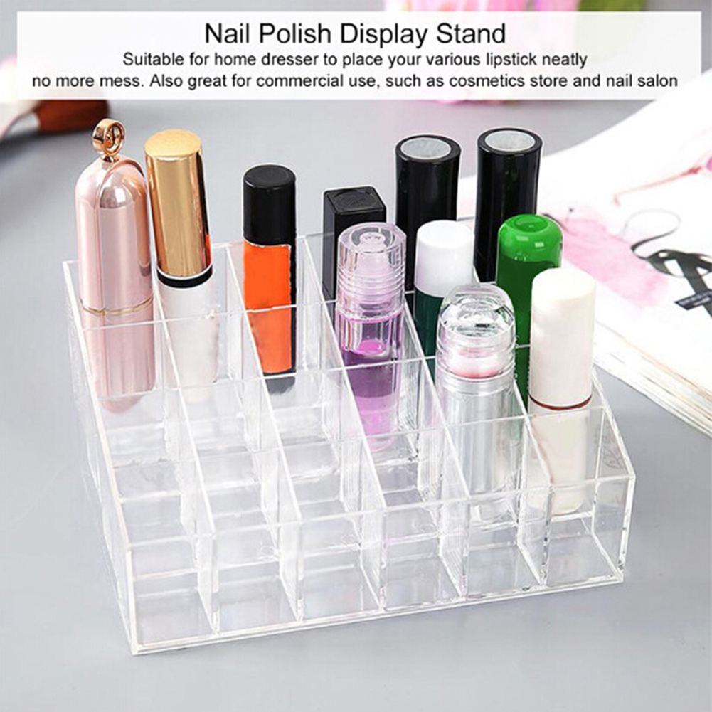 24-grid Clear Lipstick Nail Polish Cosmetic Storage Box Organizer Display Stand Useful