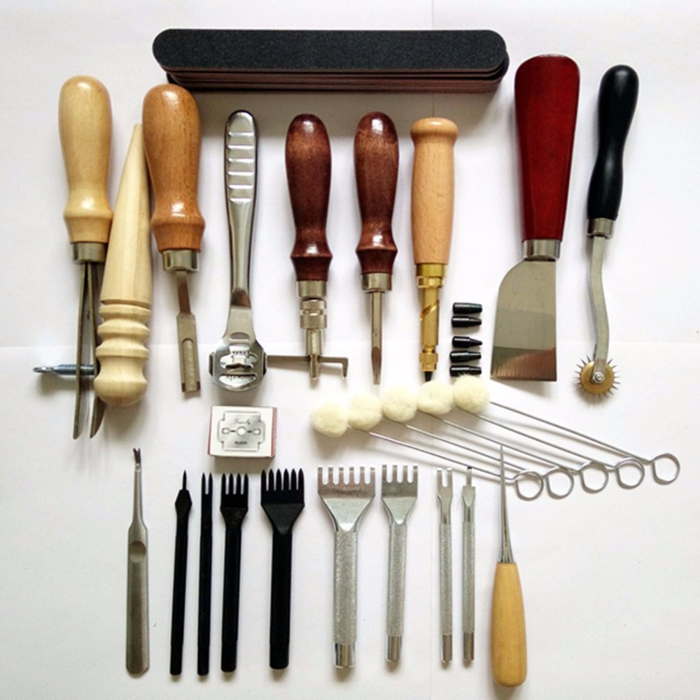 Complete leather craft hand tools kit for hand sewing for Leather craft kits for sale