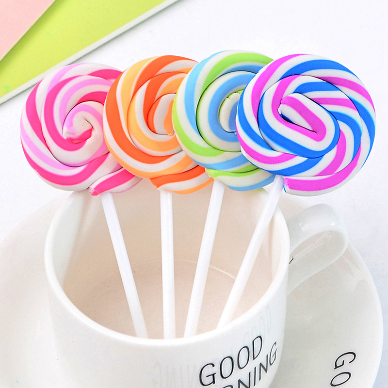 4 Pcs/lot Creative Lollipop Rubber Eraser Kawaii Soft Durable Flexible Cube Office Erasers For School Student Kids