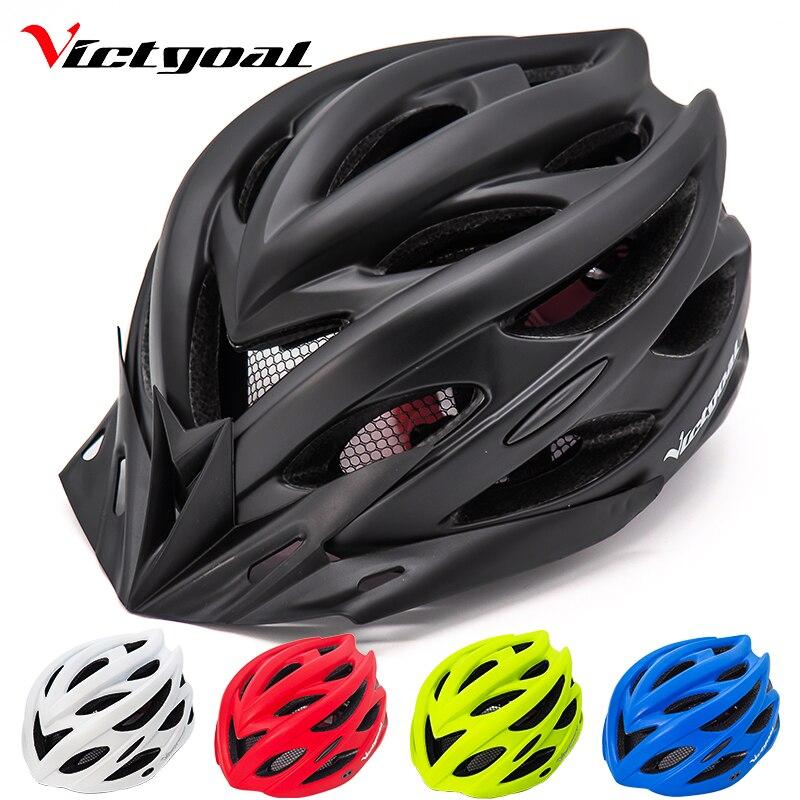 VICTGOAL Bicycle Helmets Matte Black Men Women Bike Helmet Back Light MTB Mountain Road Bike Integrally Molded Cycling Helmets