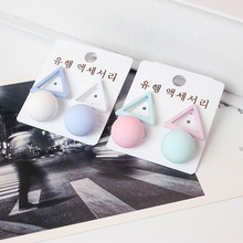 Fashion 1Pair 10 Kinds Candy Colour Aiffry Triangle Different Candy Color Earrings For Women Stud Earrings Clear Korean Style