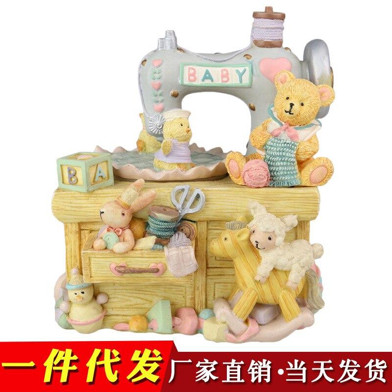 Boîte à musique ours cheval de troie rotatif lapin Animal boîte à huit tons donnant aux filles et aux enfants des cadeaux d'anniversaire de noël
