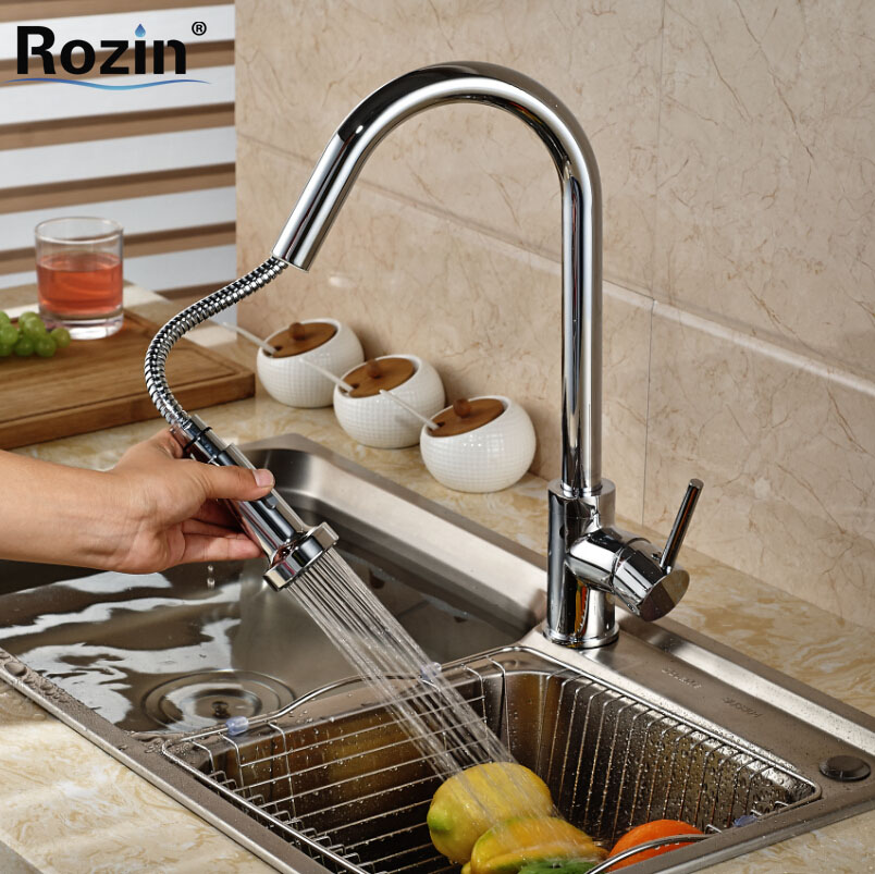 Polished Chrome Pull Out Spout Single Handle Rotation Kitchen Mixer Taps Deck Mount Brass Hot and Cold Water Faucet цена и фото