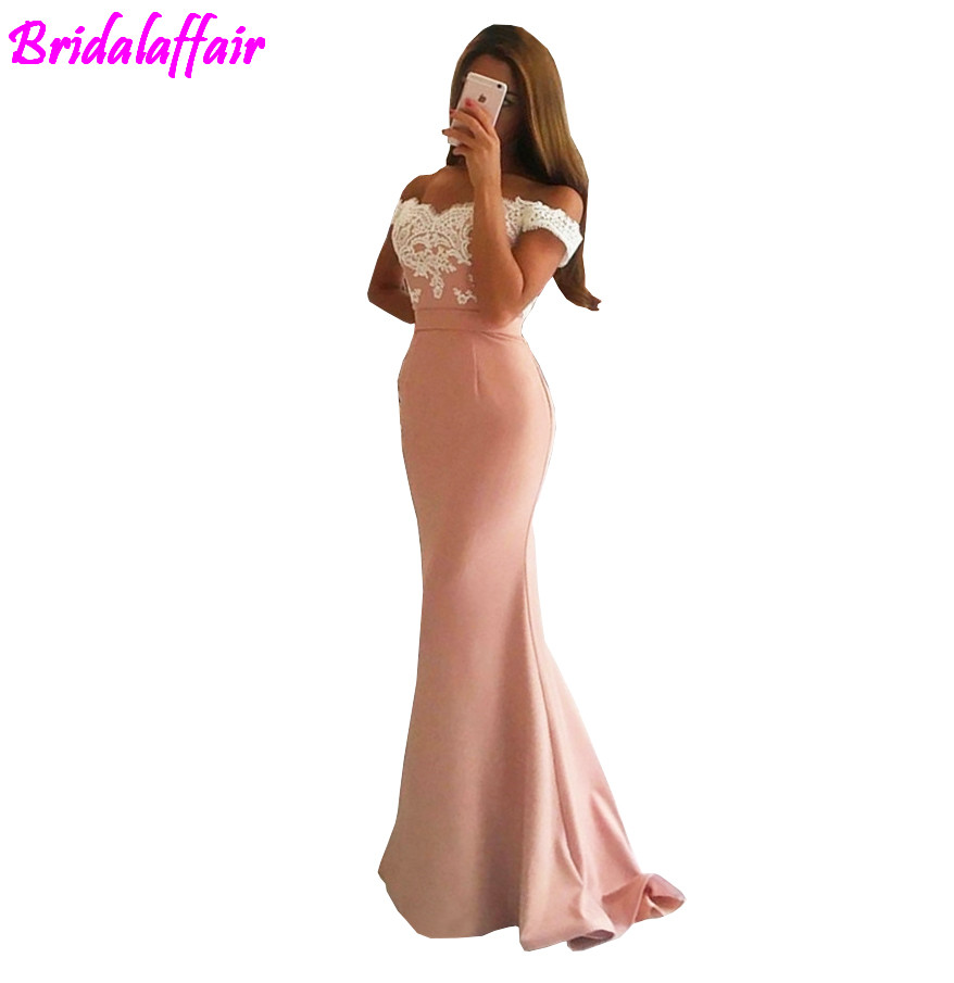 2018 Pink Evening Dress Mermaid Off The Shoulder Satin Lace Backless Party Long Party Gown vestidod de fiestas gala balo elbise