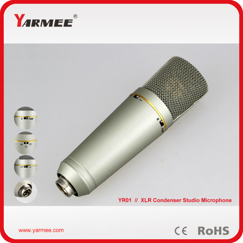 Wired XLR connector electret side-address TV studio condenser microphone YR01 best quality yarmee multi functional condenser studio recording microphone xlr mic yr01