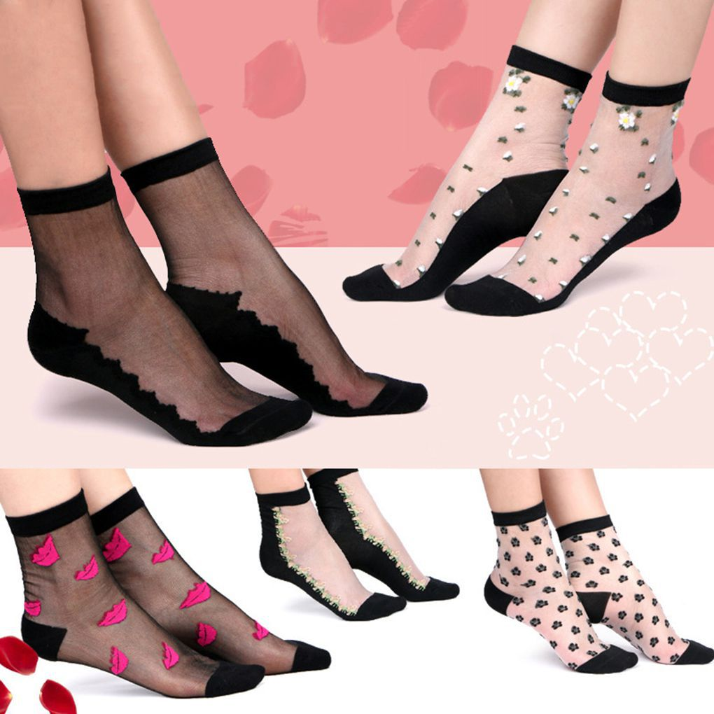 Hot New Ultrathin Transparent Women's Cotton+Crystal Silk Socks Ultrathin Crew Sock with Cotton Bottom
