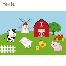 Yeele Baby Birthday Party Photography Backgrounds Cartoon Farm Windmill Animal Custom Photographic Backdrop For Photo Studio