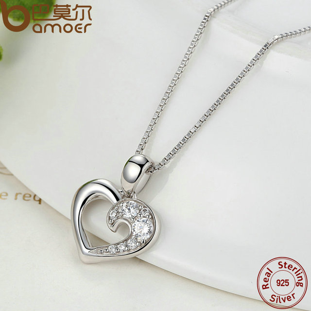 Sterling Silver Romantic Silver Heart Pendant Necklace