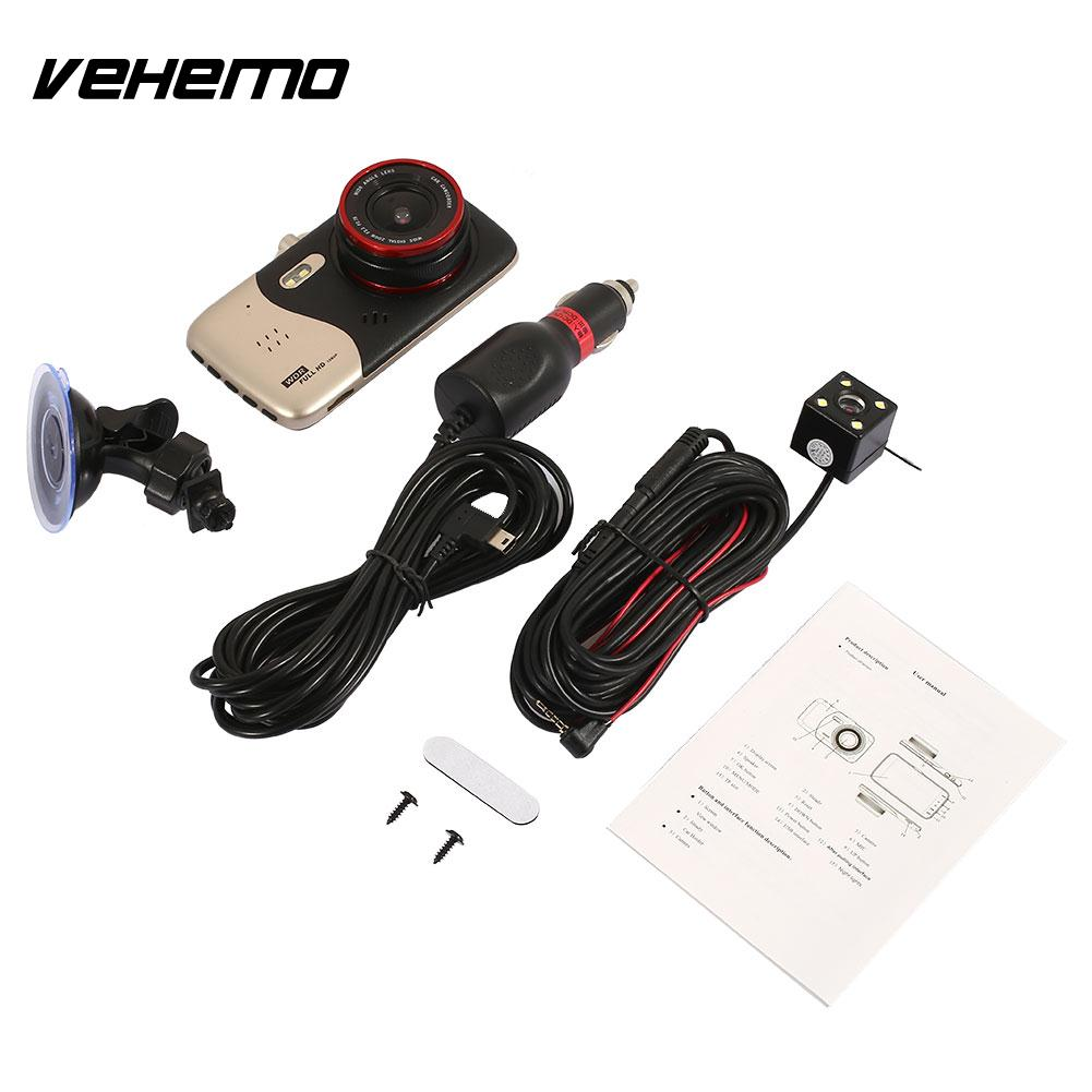 Vehemo Dash Cam Video Recorder Driving Recorder 3.5 Inches 1080P Premium Double Lens Night Vision Car Front Windshield Car DVR