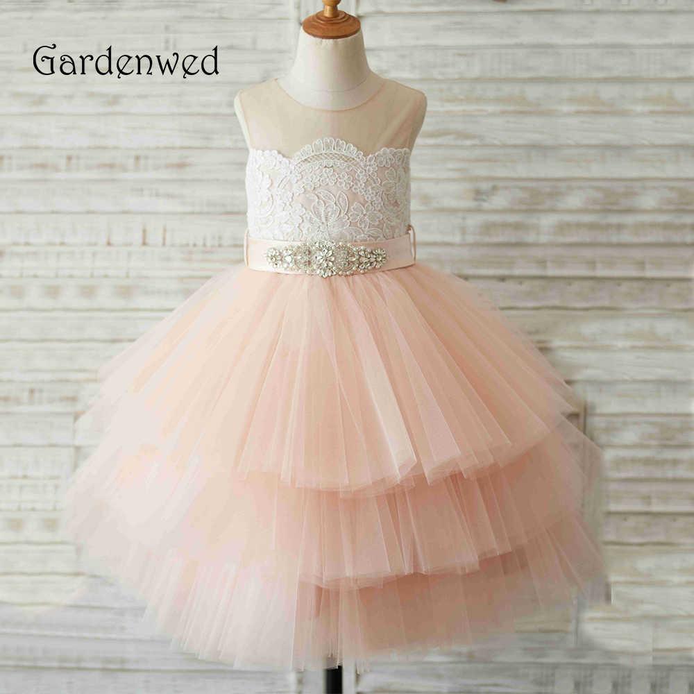 Pink Champagne Flower Girl Dress