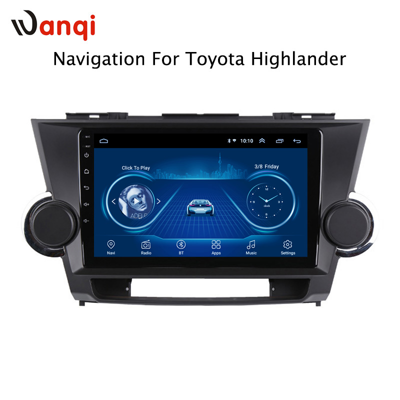 Radio Touchscreen Bluetooth WIFI SWC 9inch Android Toyota Highlander Tempered-Hd 2009